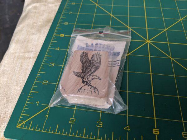 Landing Bald Eagle Rubber Stamp