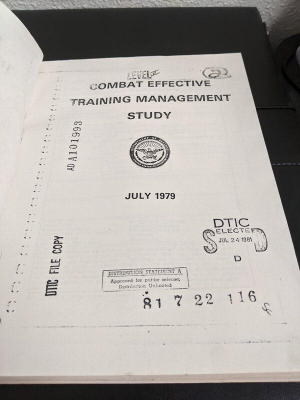 Combat Effective Training Management Study, DTIC Technical Report, 1979 Unclassified