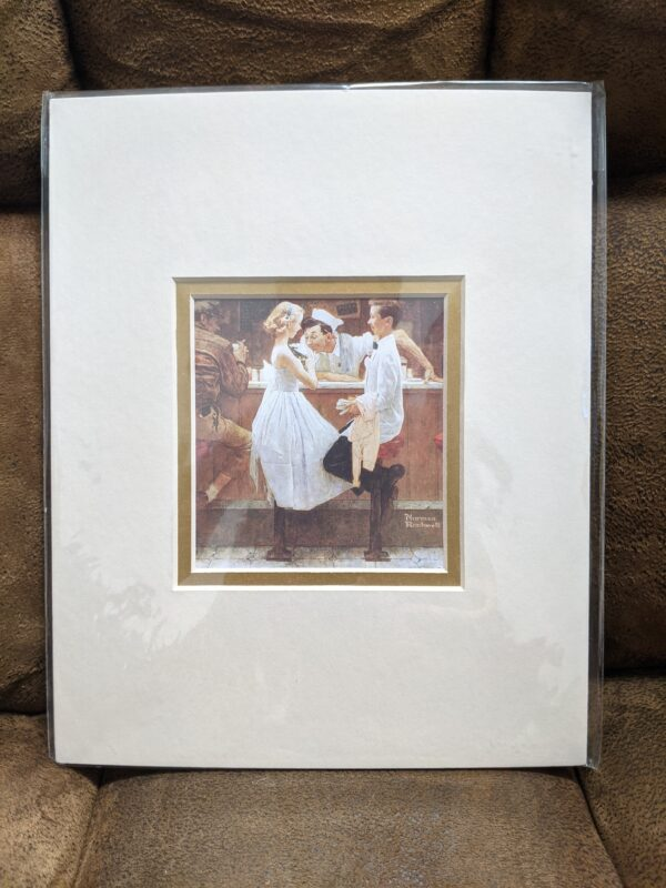 """Norman Rockwell """"After The Prom"""" Print 4"""" x 4"""", Matted 8"""" x 10"""""""