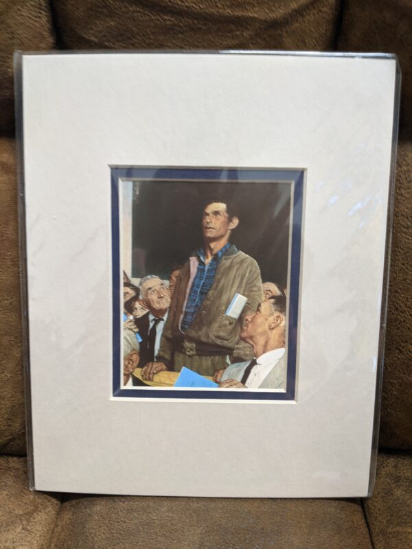 """Norman Rockwell """"Freedom Of Speech"""" Print 4"""" x 5"""", Matted 8"""" x 10"""""""