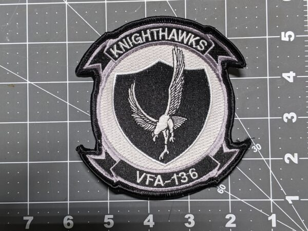 """Knighthawks VFA-136 US Navy Strike Fighter Squadron 4"""" Patch (Black and White)"""