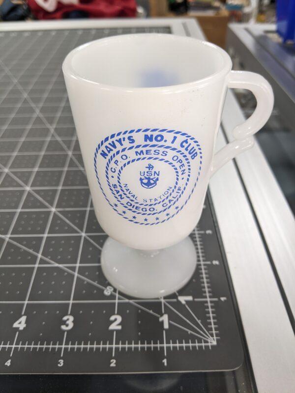 Vintage Milk Glass US Navy Mug - C.P.O. Mess Open - USN Naval Station San Diego, Calif.